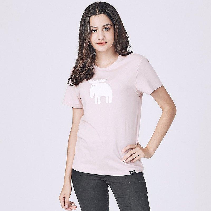 moz瑞典 駝鹿印花100%純棉短T(標準版)柔粉(亞洲版)女款
