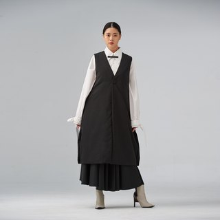 Black long collarless padded vest