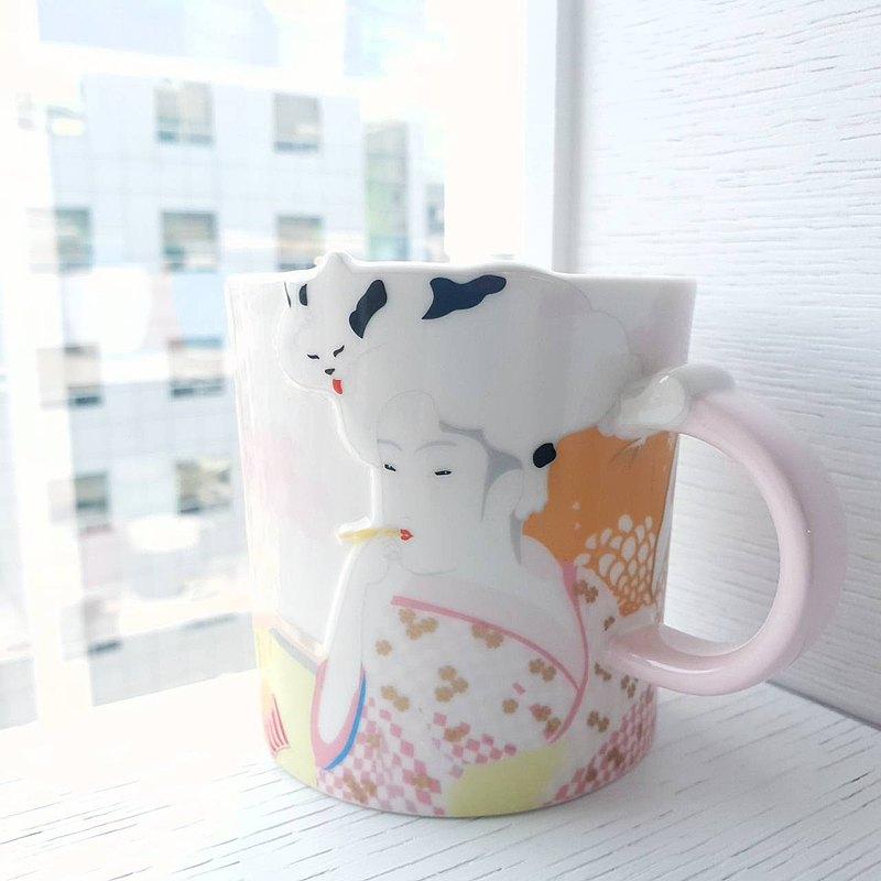 日本浮世繪風格藝妓 貓奴馬克杯
