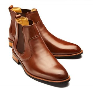 Linguo Liangpin Rubber Heel Boots Walnut Brown