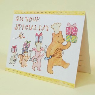 Animals to celebrate the birthday cake card] [three-dimensional JP
