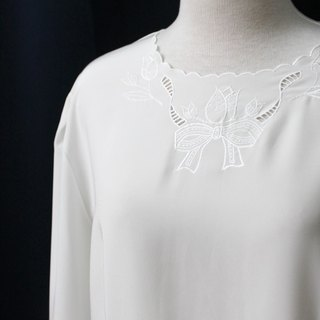 [RE0407T1927] forest department vintage tulip elegant embroidery round neck buckle behind white vintage blouse