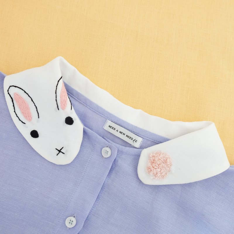 Fluffy Bunny Dress - Hand Embroidered Collar