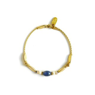 Ficelle | handmade brass natural stone bracelet | [lapis lazuli] sleeping beauty of the spindle