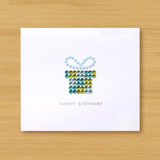 Hand-applied diamond card _ sparkling gift box _C ... birthday card, thank you card, congratulations card
