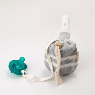 Yarn-dyed plaid light gray baby pacifier beam bag