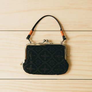 Small Squared Clasp Frame Bag/Begonia Glass Pattern/Gentleman Black