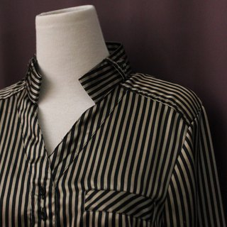 Vintage European Simple Adults Special Neckline Stripe Long Edition Long Sleeve Vintage Shirt Vintage Blouse