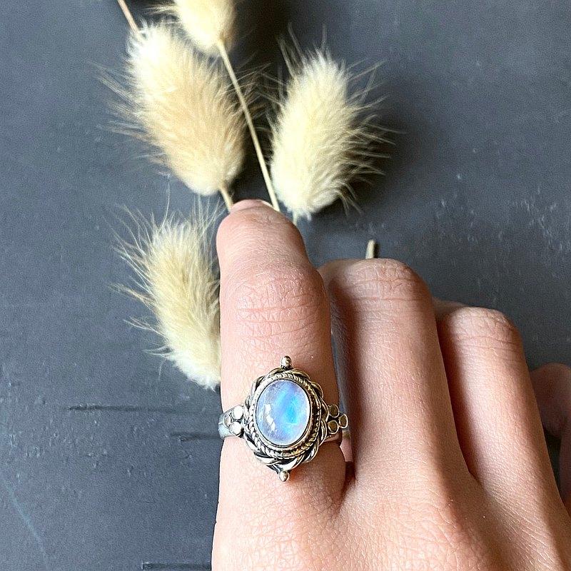 / 寧靜 / 月亮石 月光石 925純銀 手工 戒指
