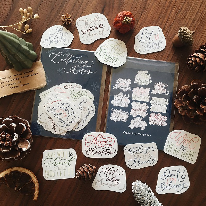 Lettering Christmas Sticker Set of 2020
