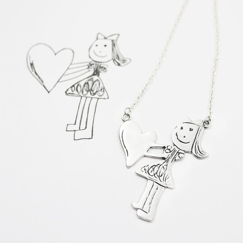 Children painted jewelry / love girl necklace