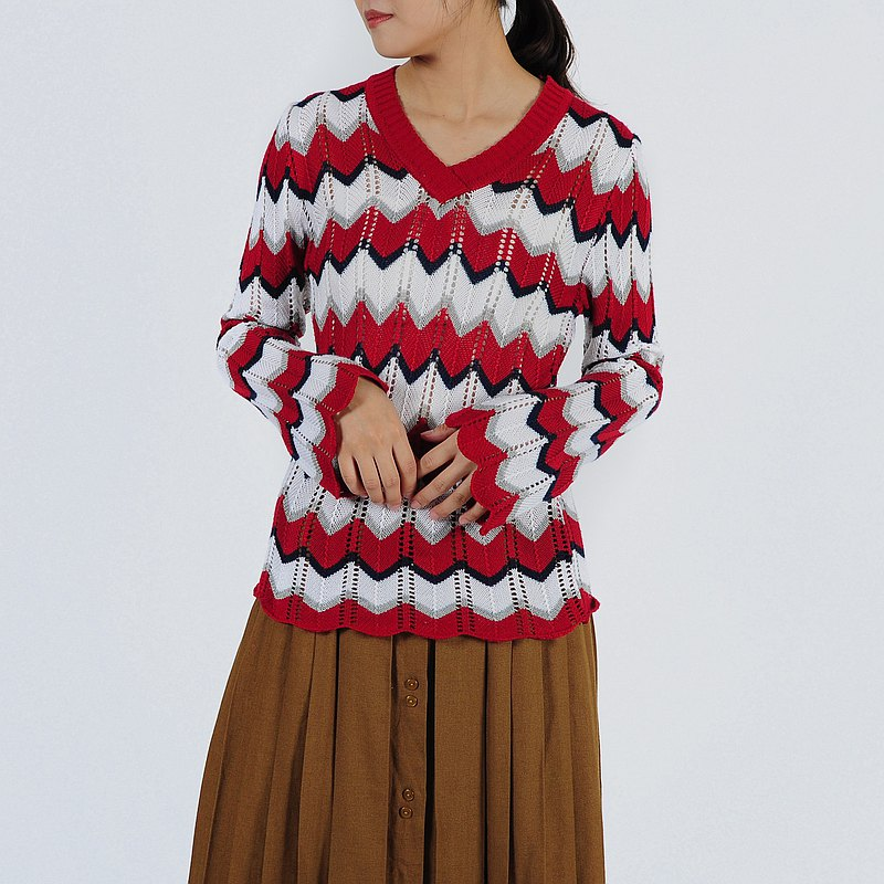 【Egg Plant Vintage】Wave wide-sleeved knitted vintage top