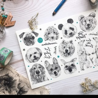 adc|party animals|calligraphy|tattoo sticker(dog)