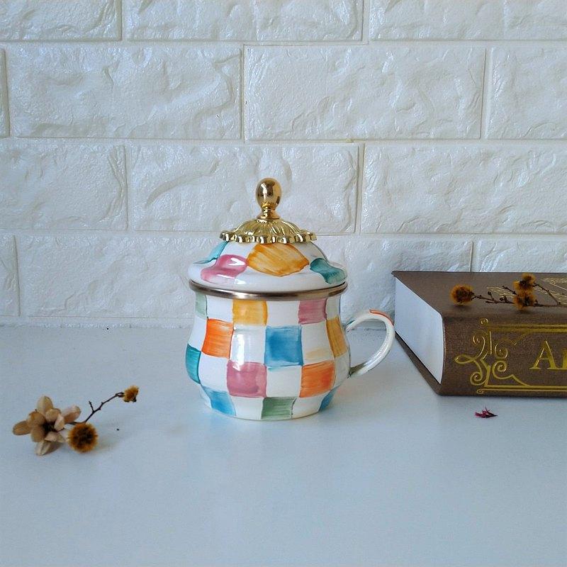 彩色格紋琺瑯茶杯貴族皇冠蓋把款 附手作禮物包裝400ml
