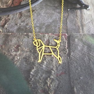Bloodhound, Origami, Dog Necklace, Pet Jewelry, Gold Plated Necklace, Dog gifts