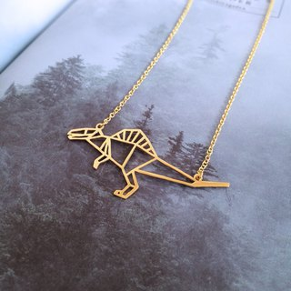 Spinosaurus, Origami, Dinosaur Necklace, Gold Plated Necklace, Dinosaur Gifts