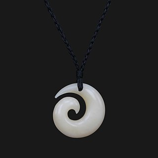 Hand Carved Classic Maori Design Small Koru / Spiral Pendant Necklace