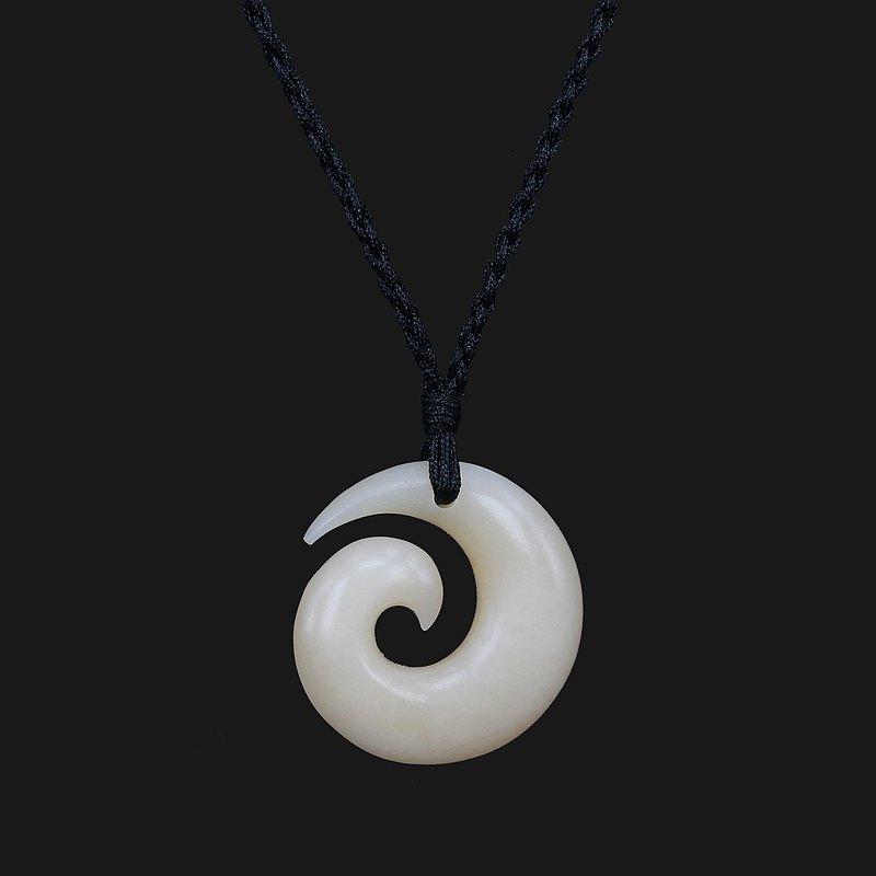 Hand Carved Classic Maori Design Small Koru Spiral Pendant