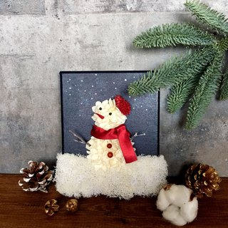 Snowman | Hydrangea Snowman. Picture frame. Belong to the winter gift