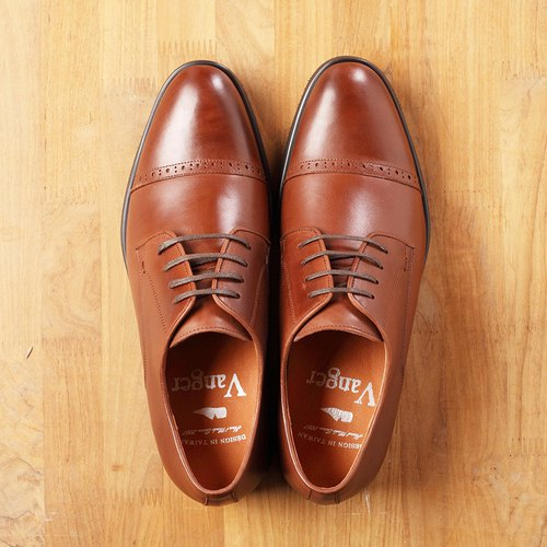 Vanger Simple Classic Striped Carving Derby Shoes Va188 Coffee Taiwanese