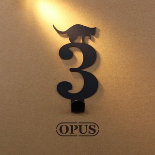 [OPUS Dongqi Metalworking] When the cat meets the number 3 - hook (black) / wall hanging hook / storage without trace