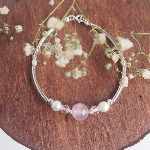 | Pamper Yourself | Madagascar Pink Crystal Pearl Silver Bracelet