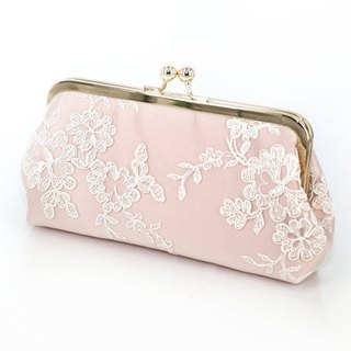 Handmade Clutch Bag in Pink  | Gift for bridal, bridesmaids |  Floral Alencon Lace