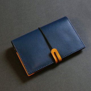 Attached rope hand-tanned leather small passport holder