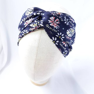 Dark blue fireworks headband scarf towel handmade hair band