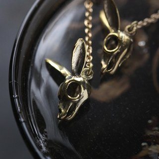 Rabbit Skull with chain Earrings By Defy / Rabbit Skeleton Jewelry / Unique Handmade Jewelry.