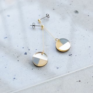 Swing Three tone mirror earrings / navy-gold