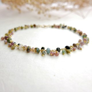 [Lalune] October birthday stone - hand made color tourmaline string yellow K 925 sterling silver bracelet fashion