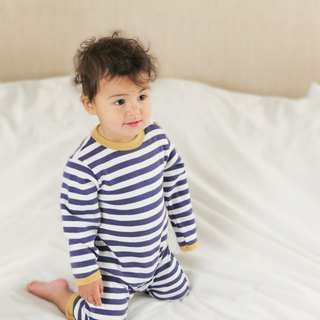 100% organic cotton sailor striped baby jumpsuit made in the UK