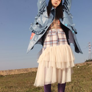 Red and blue large white plaid stitching yarn fresh literary super fairy irregular autumn and winter skirt skirt