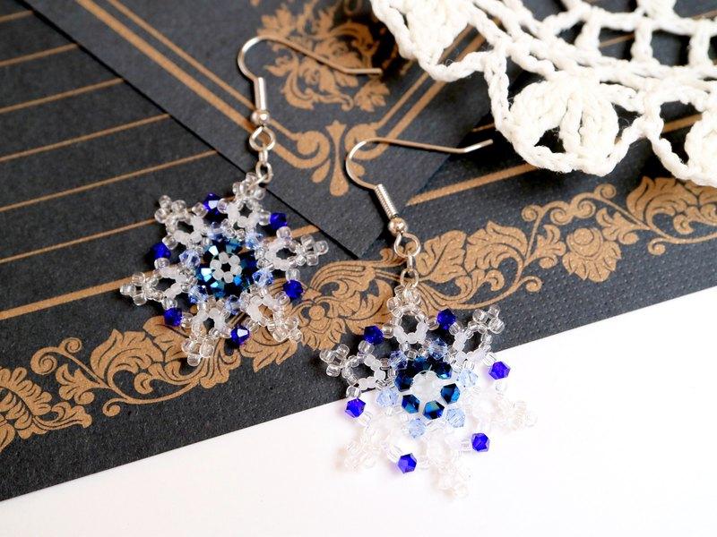 雪花耳针精緻奧地利水晶雪花雪花雪花冬季優雅聖誕藍經典藍水晶玻璃鉛玻璃