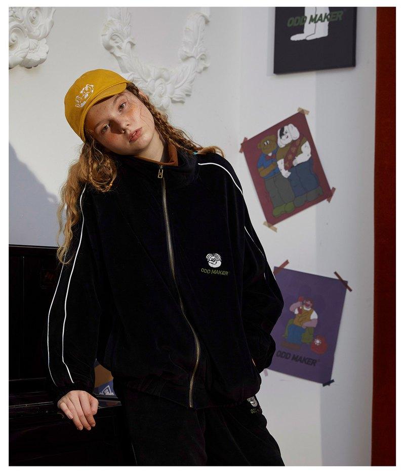 odd maker 黑色絲絨套裝女2019年秋冬季休閒運動兩件套印花日系