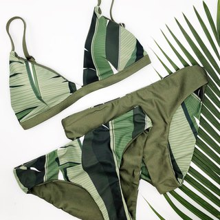 Green Tropical Foliage Reversible Bikini