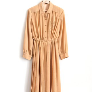 Vintage Fallen Leaves Embroidered Vintage Long Sleeve Dress