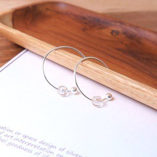 Blonde Crystal Crescent Earrings (Small) - 925 Sterling Silver Natural Stone Ear Pins