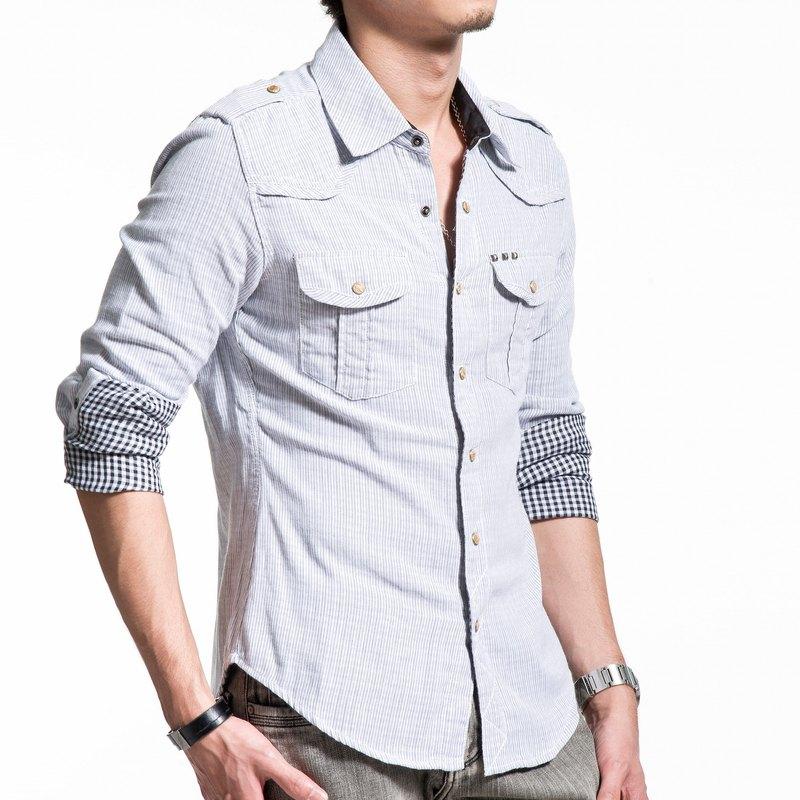 精梳棉雙層布黑白條紋金字塔撞釘長袖襯衫