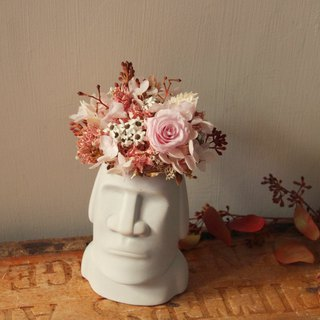Not withered rose pink Moai small potted flower