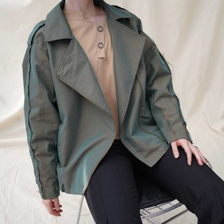 Color-changing fabric tassel contrast color windbreaker in armygreen