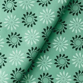 Hand-Printed Cotton Canvas - 250g/y/Black Drongo Circles/Tree Green