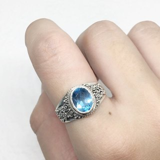 Blue Topaz 925 Sterling Silver Heavy Industry Elegant Ring Nepal Handmade Mosaic (Style 5)