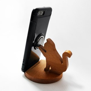Lucky cat attracts good luck mobile phone holder mobile phone holder business card frame beech wood