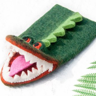 Thick cotton wool felt insulated gloves / kitchen supplies / wool felt insulation gloves / wool felt dolls - crocodile