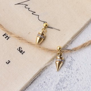 Handmade earrings in brass with Swarovski rhinestone , rivet