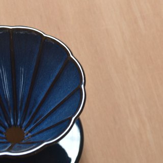 Hakka's polite blue daisy-shaped long rib filter cup 01 (no handle)
