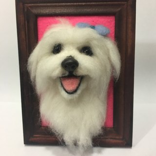 Semi-dimensional wool felt realistic pet photo frame