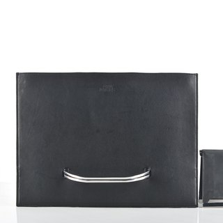 SALE Slate briefcase and Raze wallet set in black distressed leather (SET)